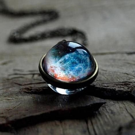 Necklace Handmade Glass Ball Solar System Galaxy Pendant Moon Space Universe -J