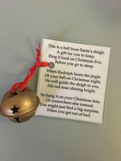 Make a crochet bell and hang jingle bell inside bell as striker and attach this card for next year's craft shows