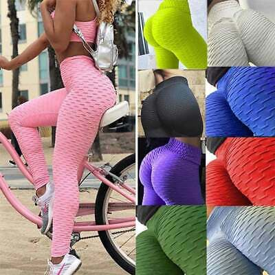 Women/'s Ruched Hip Push-up Leggings Yoga Pants Anti Cellulite Sports Trousers AM