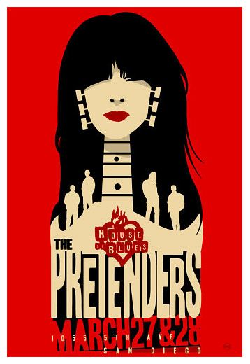 House of Blues: The Pretenders  rock music psychedelic concert poster ☮ ☮ Hippie Style ☮ ☮