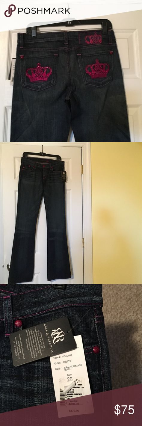 New with tags Rock & Republic jeans Rock and Republic Kasandra jeans. Pink crowns?? Who wouldn't love that?? Dark denim with pink stitching and pink crowns on back pockets. Flare leg size 28. Rock & Republic Jeans Flare & Wide Leg