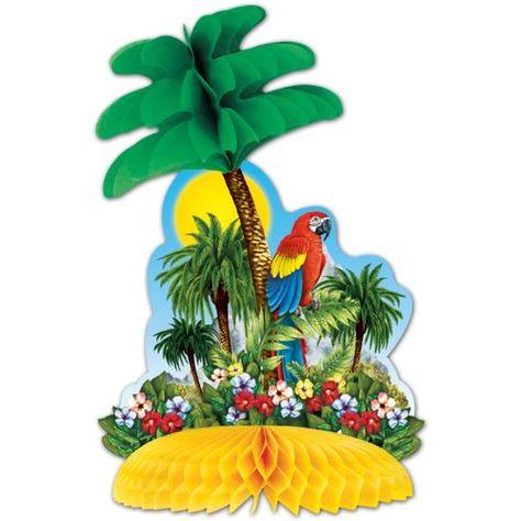 Tropical Island Centerpiece Party Accessory (1 count) (1/Pkg) Beistle