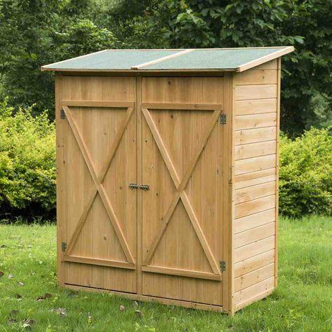 Outdoor Storage Cabinet Wood Garden Storage Shed Wooden Garden