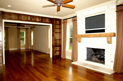 "Pecan wood floors in ""luxurious Texas styling"" at Rick Perry's rental mansion."