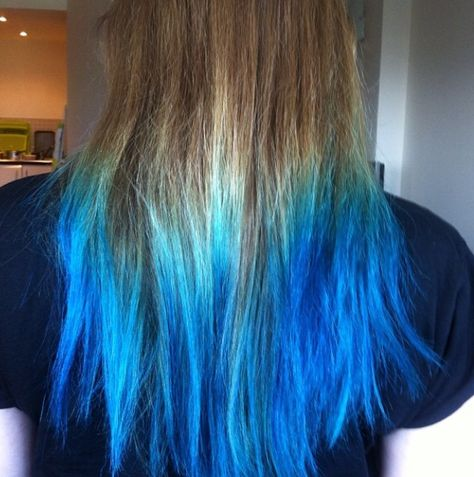 Blonde Hair With Blue Tips Blue Ombre Teal Blue Hair Blue Tips