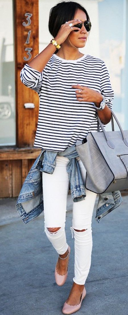 stripes + ripped denim equals the perfect saturday casual outfit