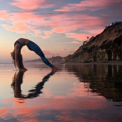 """""""Yoga is a way to freedom. By its constant practice we can free ourselves from fear anger and loneliness."""" Indra Devi – – Tag someone who LOVES YOGA! – shows her love for yoga with this reflective heart in a beautiful upward bow pose or Urdhva D"""