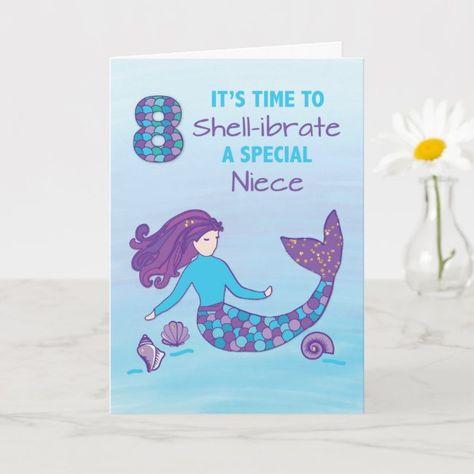 Niece 8th Birthday Sparkly Look Mermaid Card