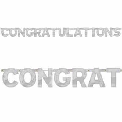 Congratulations Silver Letter Banner - 68 feet Engagement Party - congratulations letter