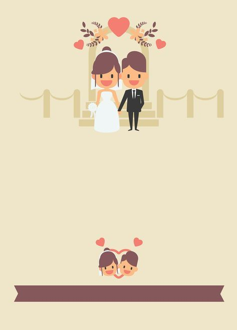 Cartoon Couple Wedding Invitation Poster Background In 2019