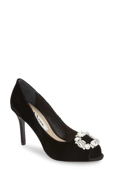 c1dbab99b31 Nina  Reign  Crystal-Embellished Peep-Toe Pump (Women)
