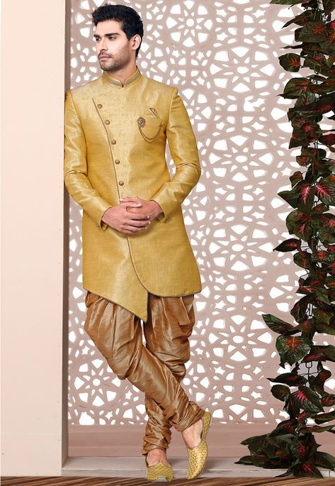 99e382c2ea Art Silk Jacquard Asymmetric Sherwani in Yellow This Readymade attire is  Enhanced with Embossed , Zari