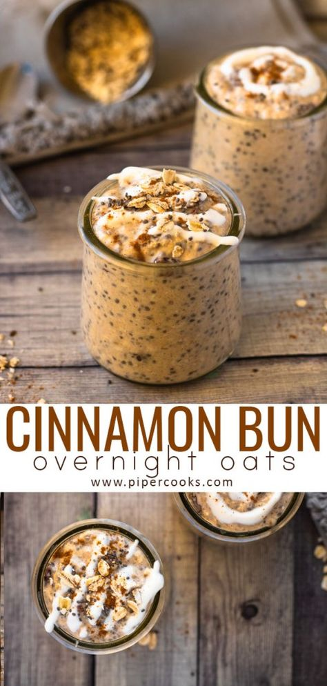 Cinnamon Bun Overnight Oats - Piper Cooks The deliciousness of a cinnamon bun in an easy, overnight breakfast treat, sweetened with brown sugar, flavored with cinnamon and packed with raisins. Low Calorie Overnight Oats, Overnight Oats With Yogurt, Peanut Butter Overnight Oats, Easy Overnight Oats, Overnight Breakfast, Best Overnight Oats Recipe, Oatmeal Recipes, Recipes With Oats Breakfast, Sweet Breakfast