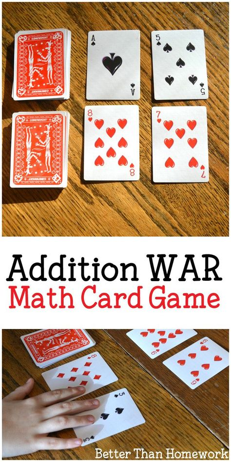 Addition War Card Game - Creative Family Fun - Addition War Card Game – Creative Family Fun Practice addition with a buddy when you play this easy addition card game, Addition War. All you need is a deck of cards and a friend for this fun math game. Math Card Games, Card Games For Kids, Fun Math Games, Math For Kids, Activities For Kids, Abc Games, 1st Grade Math Games, Numeracy Activities, Number Activities