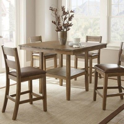 This Casual Five Piece Counter Height Dining Table Set Is Perfect For Your K Counter Height Dining Room Tables Counter Height Dining Table Square Dining Tables