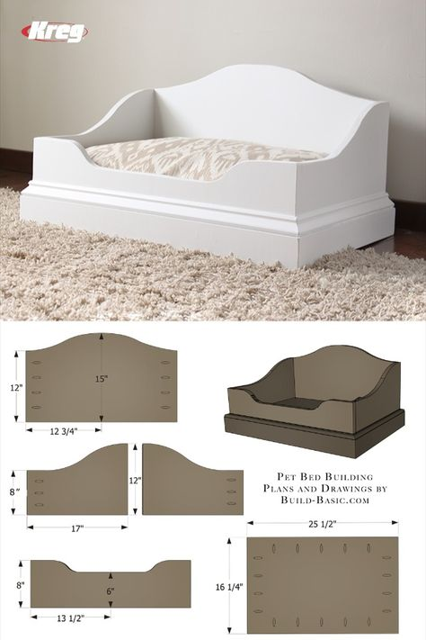 Grab a half sheet of plywood and a pocket hole jig to quickly assemble this easy. - Grab a half sheet of plywood and a pocket hole jig to quickly assemble this easy DIY pet bed! Diy Dog Bed, Wood Dog Bed, Pallet Dog Beds, Dog Furniture, Dog Rooms, Animal Projects, Animal House, Pet Beds, Dog Houses