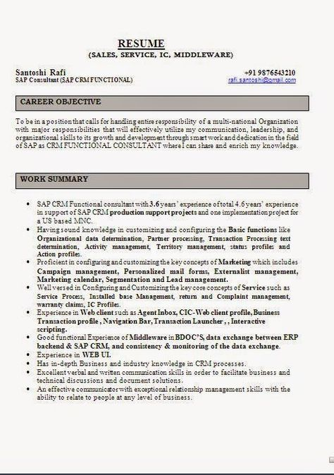 download resume sample Sample Template Example ofExcellent - download resume formats for freshers