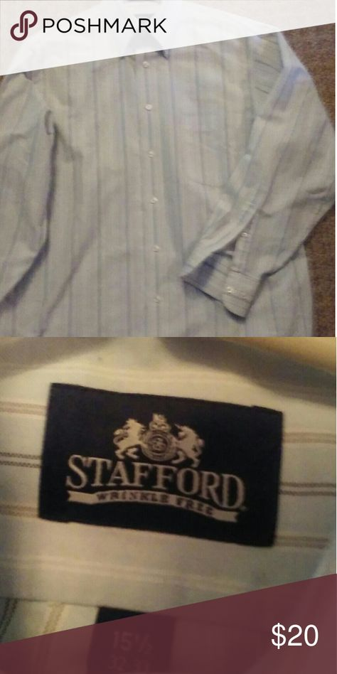 Men's nwot Stafford Oxford shirt in Med. Light blue with tan white & navy stripes. 60% cotton. 40 polyester. Stafford Shirts Dress Shirts