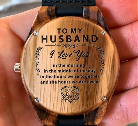 To My Husband - I Love You In The Morning Engraved Wooden Watch, Wood Gifts for Husband, Anniversary