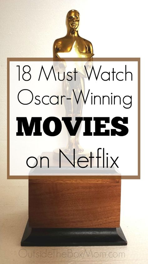 18 Oscar-Winning Movies on Netflix These Oscar-winning movies on Netflix are great to watch during Oscars weekend or any time of year. These Academy Award-winning movies on Netflix won awards for sound, costume design, makeup, music, and the Netflix Shows To Watch, Good Movies On Netflix, Tv Series To Watch, Dc Movies, Family Movies, Best Series On Netflix, Movies Available On Netflix, Best Movies Of 2019, Netflix Funny
