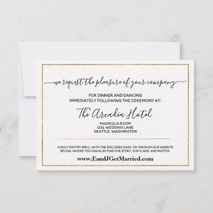 Simple Elegant Black Gold Wedding Reception Rsvp Card Zazzle Com Reception Invitations Response Cards Gold Wedding Reception