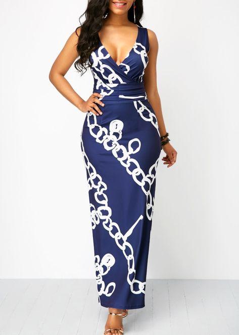2b9be946278 US  33.60 - Printed Sleeveless V Neck Navy Maxi Dress