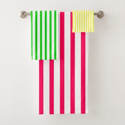 Pink Green Yellow And White Stripes Bath Towel Set Zazzle Com