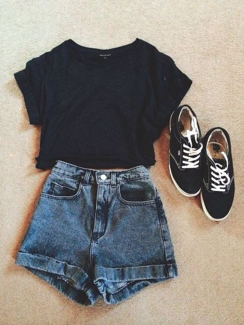 Casual attire- denim High waisted shorts, black top, vintage hipster trainers, High waisted shorts with a dark blue wash