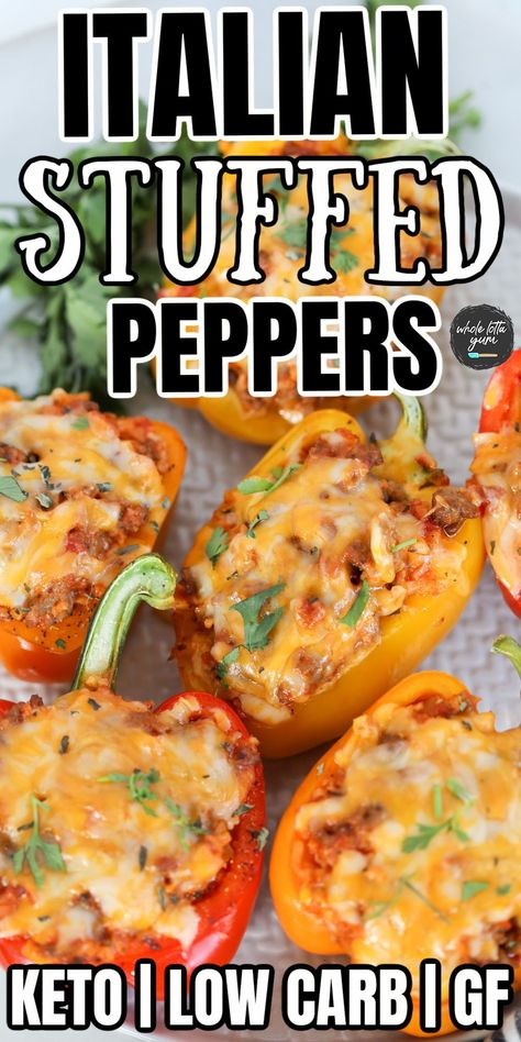 Italian stuffed peppers without rice that are keto stuffed peppers, low carb and gluten free for a delicious keto dinner.