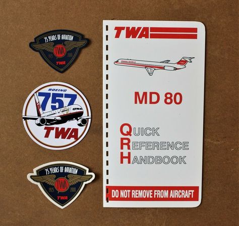 1995 Twa Airlines Md 80 Manual Handbook Cover Boeing 757 Sticker Magnet Set Lot In 2020 Twa Airlines Magnet Set