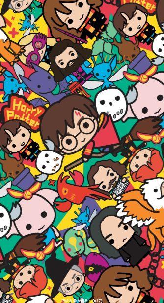 Cartoon Harry Potter Character Toss Pattern Otterbox Symmetry Iphone 8 Plus 7 Plus Papeis De Parede Animados Imagem De Fundo Para Iphone Papel De Parede Hippie
