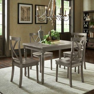 Weston Home Lexington 5 Piece Round Dining Table Set With Slat Back Chairs Dark Sea Green Products In 2019 Round