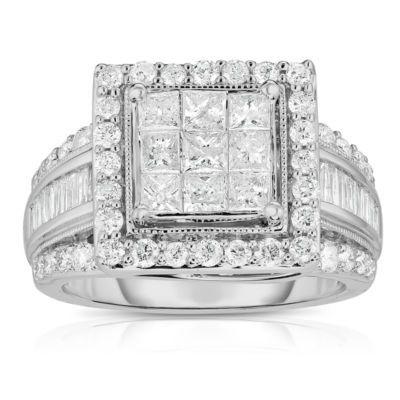 Buy Womens 2 Ct T W Genuine Diamond 10k White Gold Engagement Ring At Jcpenn White Gold Engagement Rings Sapphire Diamond Engagement Princess Engagement Ring