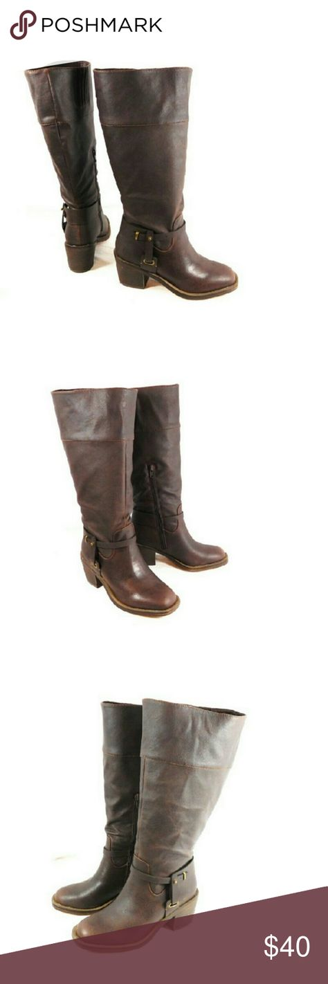 1a8a39bb15a5 WIDE Calf xoxo Marissa Knee High Western Boot Brown vegan leather new never  worn without the