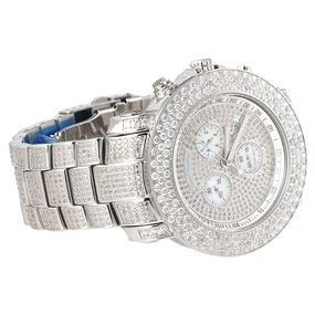 This dazzling Joe Rodeo Junior fully iced out diamond watch features 20.50 carats of sparkling round diamonds, diamonds face, diamond bezel and diamond band. Polished stainless steel case fully paved in diamonds, scratch-free crystal glass, individually numbered and engraved stainless steel case-back. This magnificent diamond JoJo watch by Joe Rode features sparkling diamonds on the bezel, sides of the case, lugs and bands. https://rocketr.net/sellers/theofficeofeverett