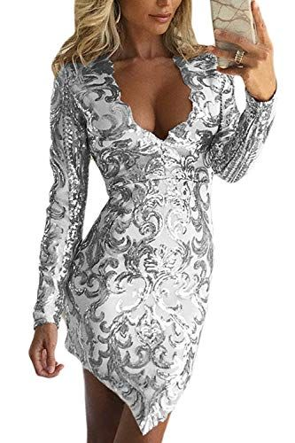 Damen Glitzer Pailletten Bodycon Minikleid Casual Abend Party Cocktail Clubwear
