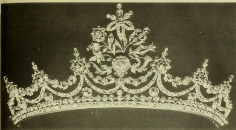 """Tiara labelled """"Empire Tiara of rose diamonds set in silver on gold mounts (Mrs Kirby)"""" in the book Jewellery, by H Clifford Smith published in 1908, and available online at https://archive.org/details/jewellery00smith"""