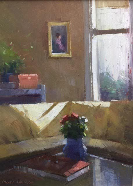 First Light 11x8 Oil Window Painting White Painting Interior Art
