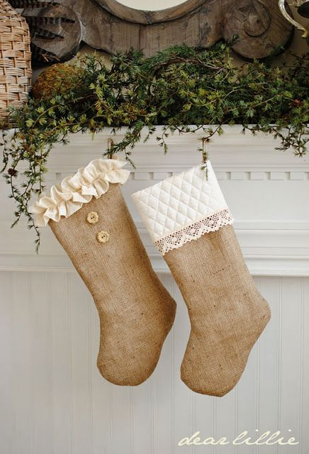 Ruffled and Quilted Burlap Stockings