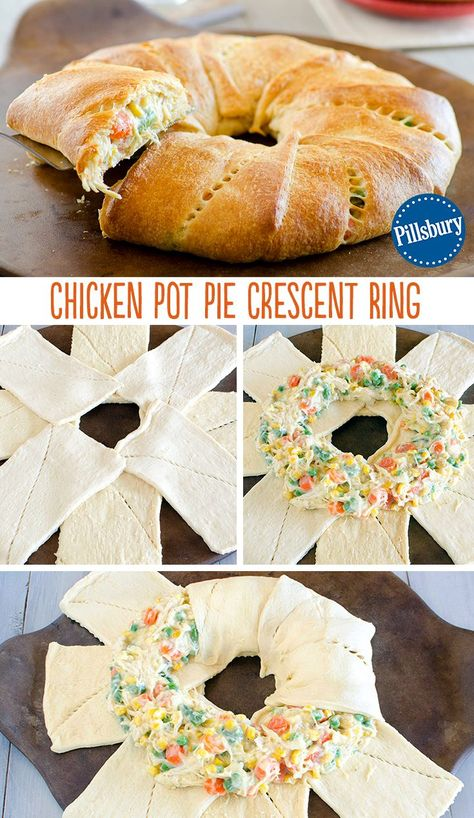RCM, A comfort food twist: Chicken Pot Pie Crescent Ring! Use Pillsbury crescent rolls to create an easy weeknight dinner. Combine shredded chicken, soup and vegetables all in one. This will be a new family-favorite meal to keep in your back-pocket! I Love Food, Good Food, Yummy Food, Tasty, Pampered Chef Recipes, Cooking Recipes, Pampered Chef Chicken Pot Pie Recipe, Milk Recipes, Crescent Roll Recipes