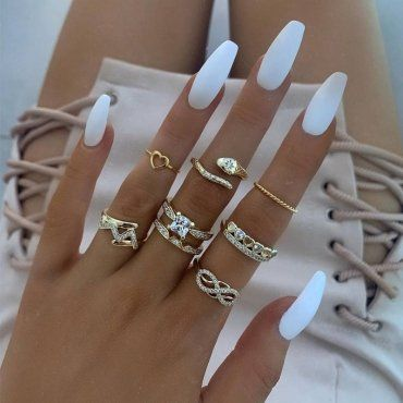 """Product Name Gold Fashion Casual 8-Piece Ring Item NO. WD6556 Weight 0.1800kg = 0.3968 lb = 6.3493 oz Category ACCESSORIES Tag Fashion , Regular , Alloy Material Alloy Style Fashion Fit Type Regular Size(in) Size(cm) Tips: Due to the many variations in monitors, the color in the image could look slightly different, please take physical design and color shall prevail. Please allow 0.4""""-1"""" differs due to manual measurement."""
