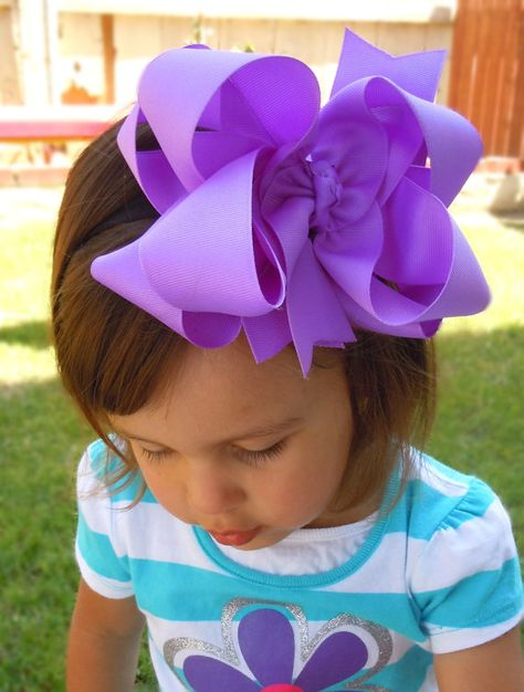 """EXTRA LARGE 6""""  Double Layered  Boutique Hair Bow made with Yards and Yards of Grosgrain Ribbon. CHOOSE Your Color(s). $9.00, via Etsy."""