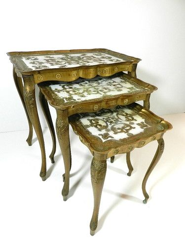 Vintage Nesting Tables Italy Stacking Gold Gilded Tole Italian Florentine Set 3 | eBay