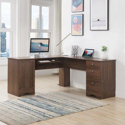 Latitude Run Agbogla L Shape Computer Desk L Shaped Desk L Shaped Executive Desk Home Office Furniture L shaped computer desk with storage