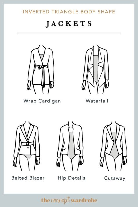 In this section, we explore how to dress the inverted triangle body shape to achieve a balanced silhouette. Make sure to check all body shapes that apply to you. V Shape Body, Triangle Body Shape, Hourglass Body Shape, Rectangle Shape, Body Shapes, Inverted Triangle Outfits, Inverted Triangle Body, Hourglass Figure Fashion, Winter Typ