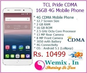 TCL Pride CDMA 16GB 4G Mobile Phone Rs 10499 | Mobile & Accessories