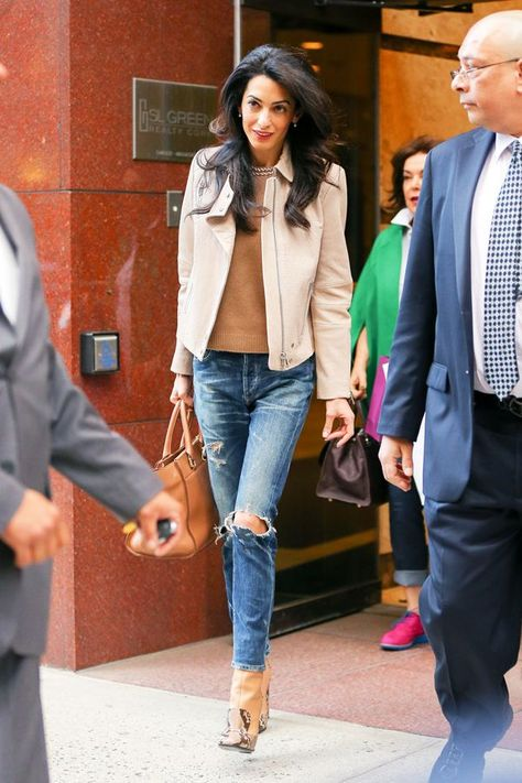 Leave It To Amal To Make Distressed Jeans Impossibly Ladylike  #refinery29  http://www.refinery29.com/2015/04/86538/amal-clooney-distressed-jeans-outfit#slide-1  Amal Clooney was photographed in New York City in distressed Citizens of Humanity jeans, a J Brand jacket, and Gucci horsebit boots — you know, totally run-of-the-mill errand-running attire.