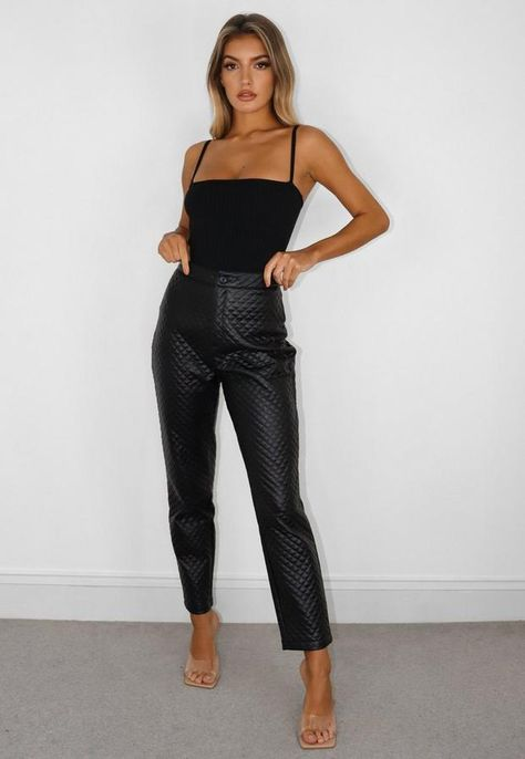 Black Faux Leather Quilted Slim Leg Pants