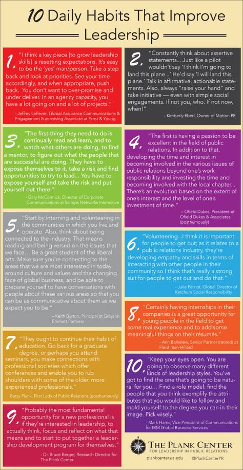 10 Daily Habits That Improve Leadership | The Plank Center for Leadership in Public Relations