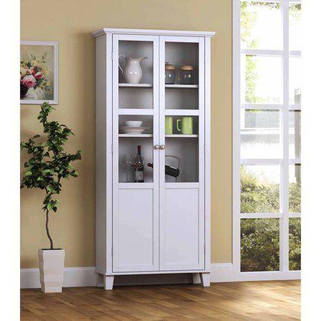 Homestar 2 Door Pantry Cabinet With Glass Doors Walmart Com White Storage Cabinets Storage Cabinet Pantry Storage Cabinet Storage cabinets with glass doors